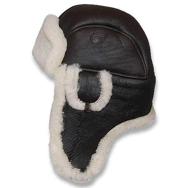 b34efc5cec59dc Crown Cap Leather Shearling Aviator Hat: DelMonico Hatter