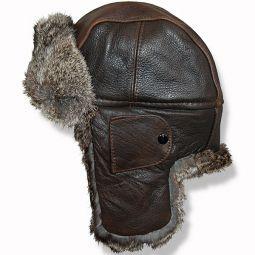 ddf5cca8a8d Crown Cap Vintage Leather Aviator Hat