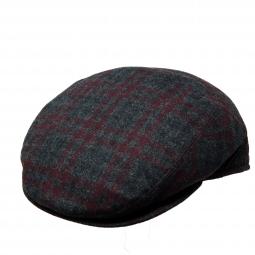 cc295a2f07d10 Borsalino Wool Cashmere Slim Line Panel Cap - Grey and Burgundy Pattern