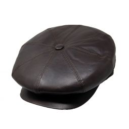 88c74e72bcd DelMonico Angelo Leather Newsboy Cap by Doria