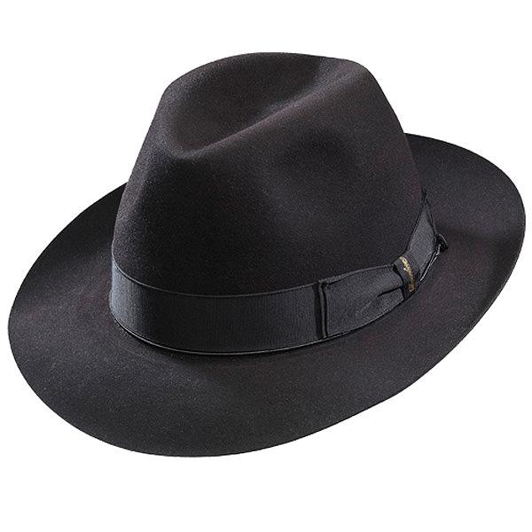 700dca6e0aa Borsalino Beaver Fur Felt Hat - Black Medium Brim  DelMonico Hatter