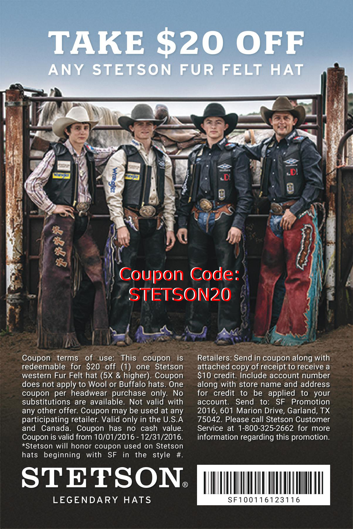 Shop with Stetson Promo Code, Save with AnyCodes. weeny.tk aims to make your shopping more enjoyable by collecting all active and working coupons and deals for you. Today we offer you 9 Stetson Promo Codes and 28 deals to get the biggest discount.